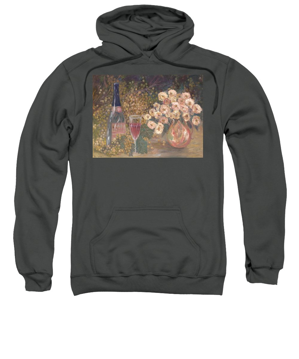 Stilllife; Floral; Wine Sweatshirt featuring the painting Wine And Roses by Ben Kiger