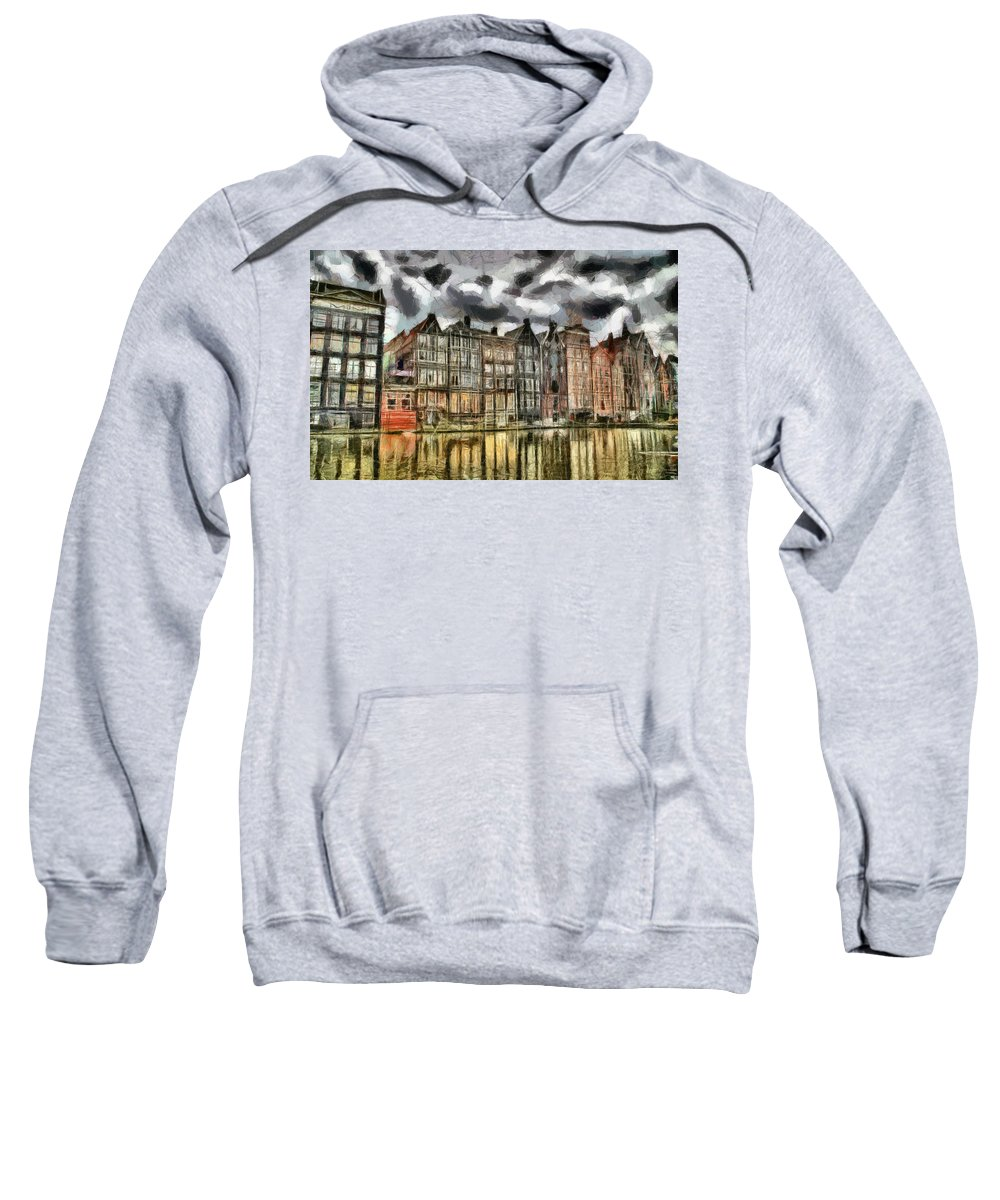 Coffee Shop Sweatshirt featuring the painting Amsterdam Water Canals by Georgi Dimitrov