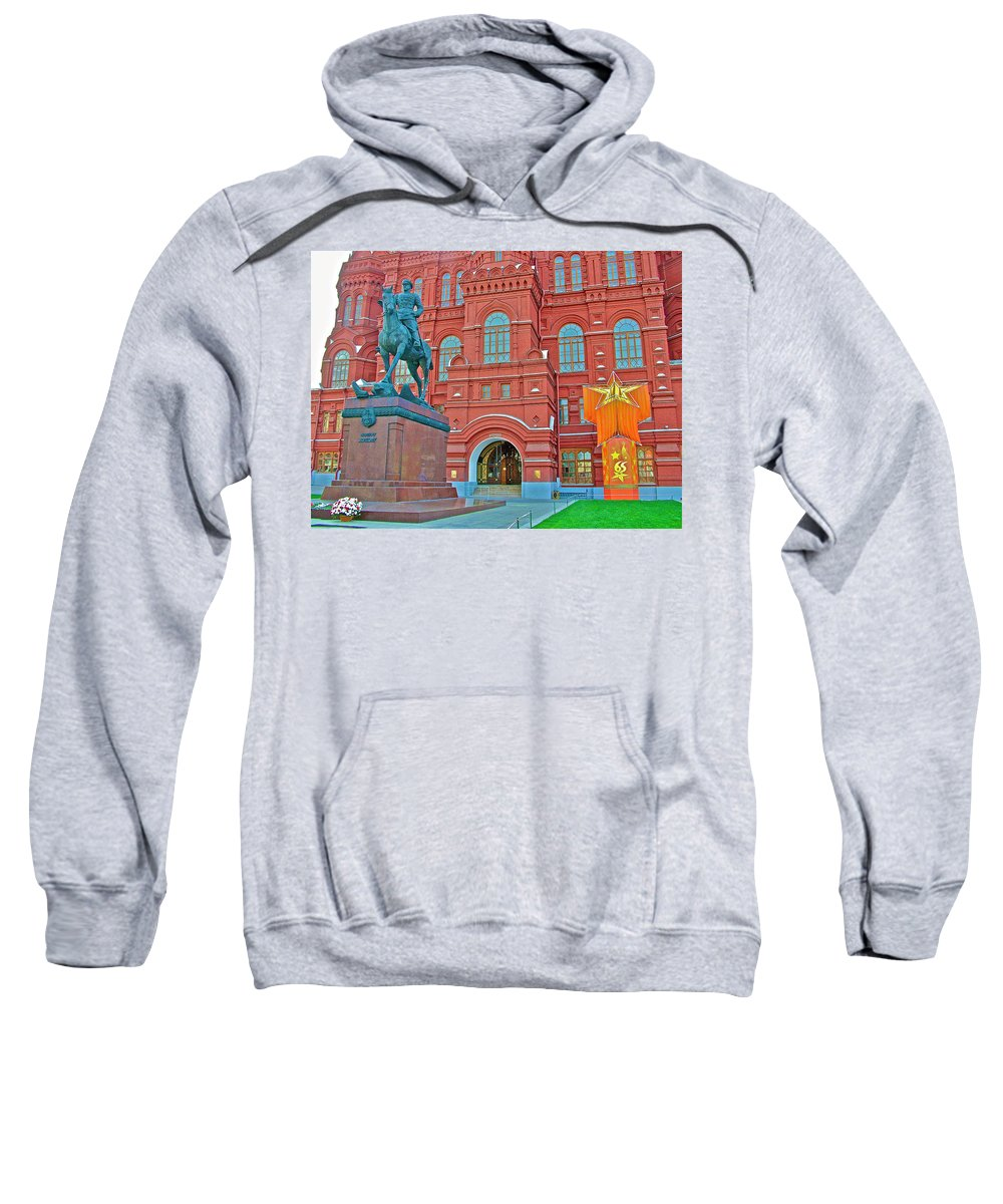 Back View Of Russian Historical Museum In Moscow Sweatshirt featuring the photograph Back Of Russian Historical Museum In Moscow-russia by Ruth Hager