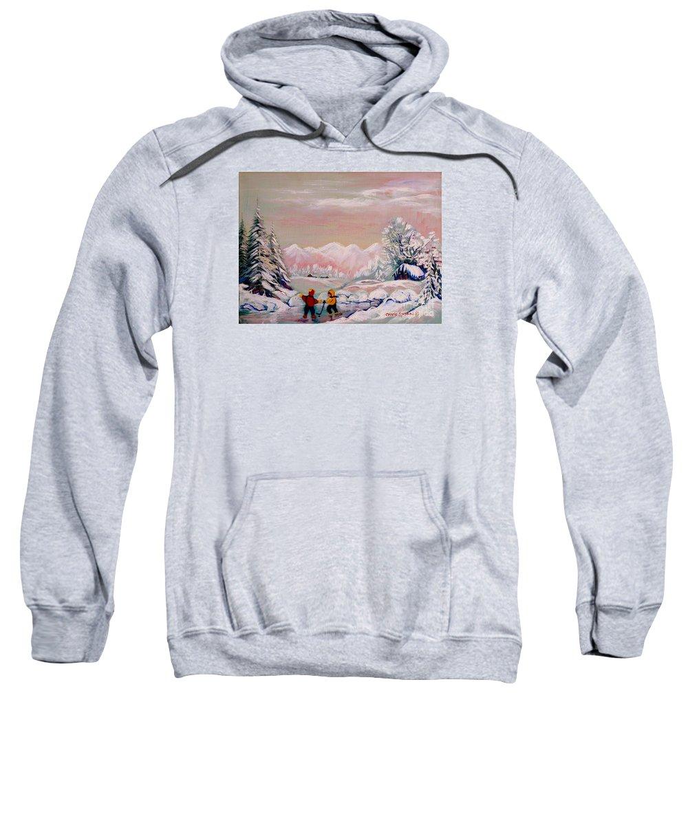 Beautiful Winter Fairytale Sweatshirt featuring the painting Beautiful Winter Fairytale by Carole Spandau