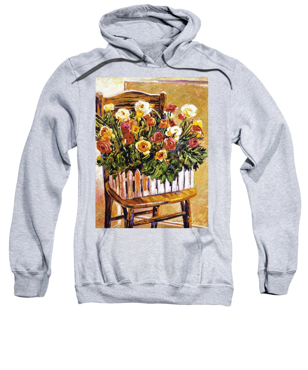 Still Life Sweatshirt featuring the painting Chair Of Flowers by David Lloyd Glover