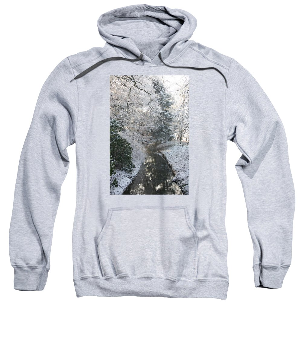 Snow Sweatshirt featuring the photograph Creek Reflection by Christiane Schulze Art And Photography
