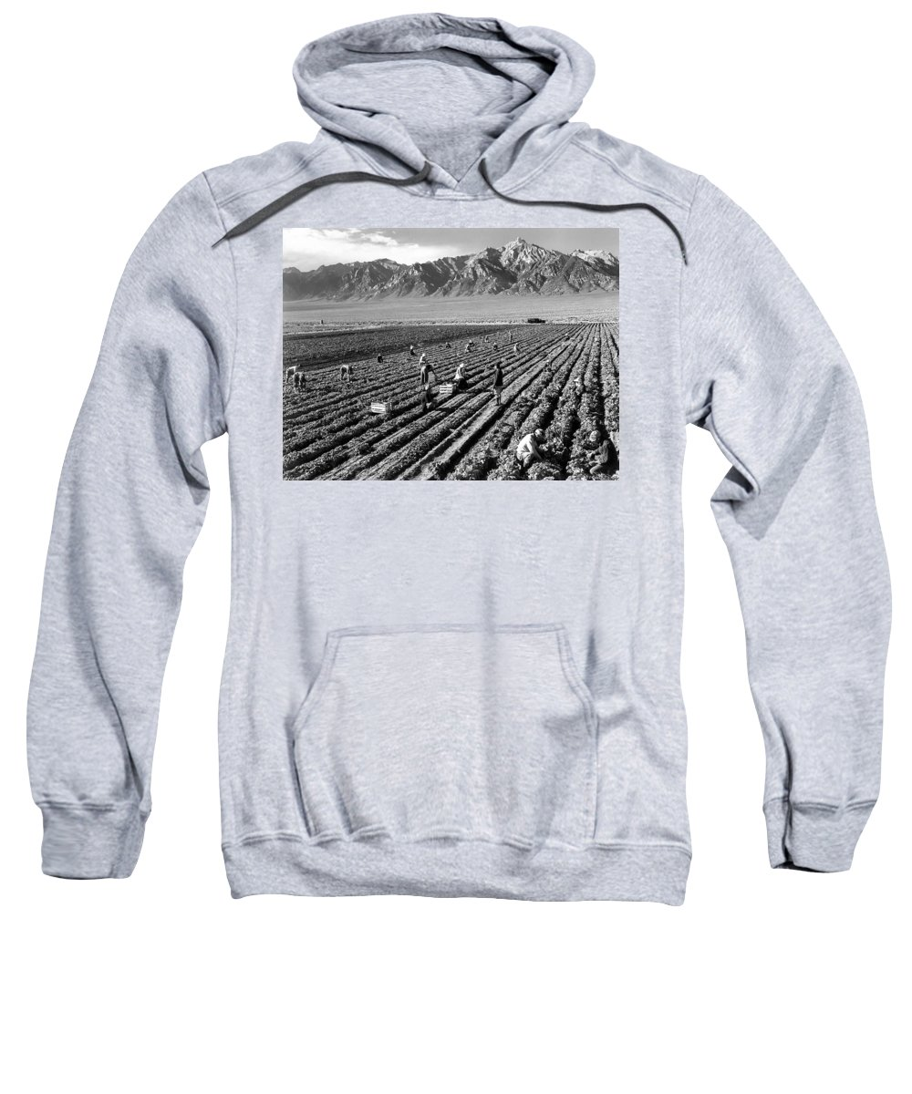 Ansel Adams Sweatshirt featuring the digital art Farm Workers And Mount Williamson by Ansel Adams