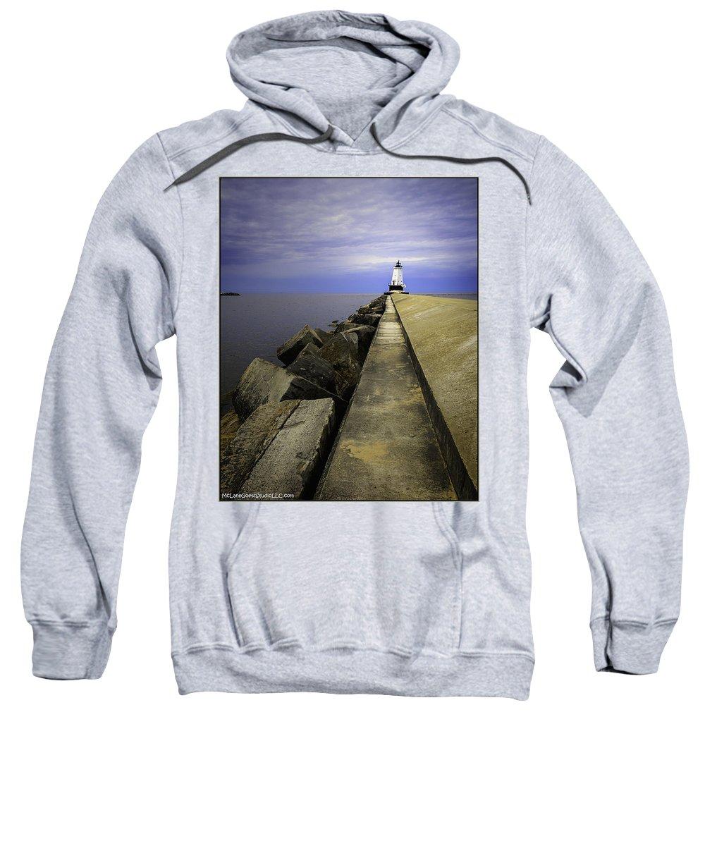 Usa Sweatshirt featuring the photograph Ludington Light House Michigan by LeeAnn McLaneGoetz McLaneGoetzStudioLLCcom