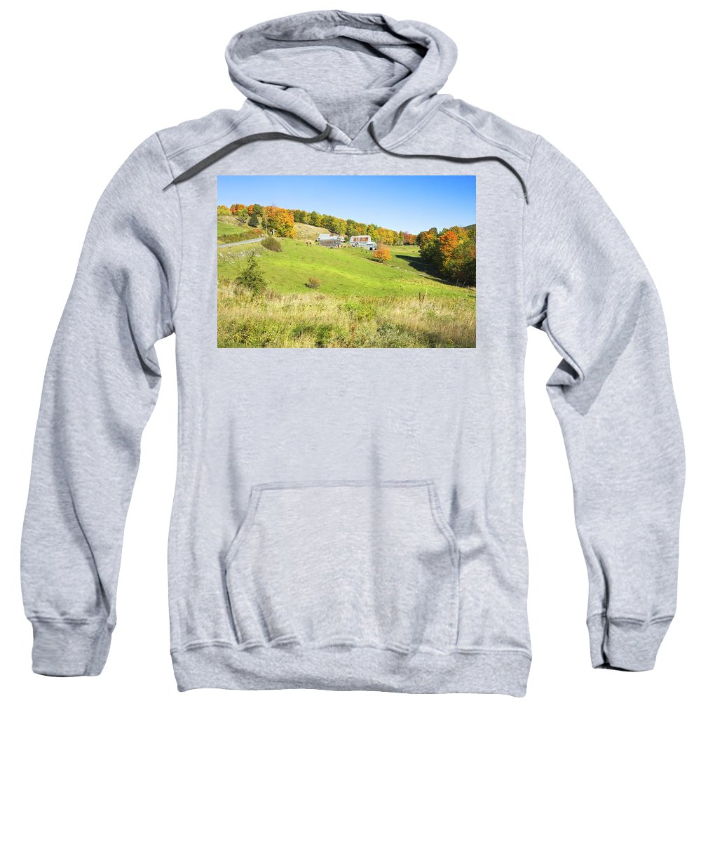 Farm Sweatshirt featuring the photograph Maine Farm On Side Of Hill In Autumn by Keith Webber Jr