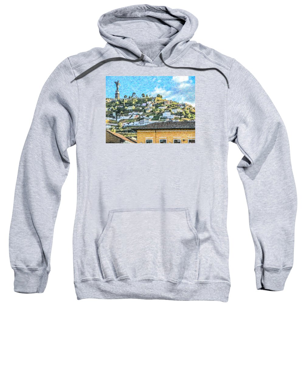 Winged Virgin Sweatshirt featuring the digital art Panecillo Hill Quito	 by Liz Leyden