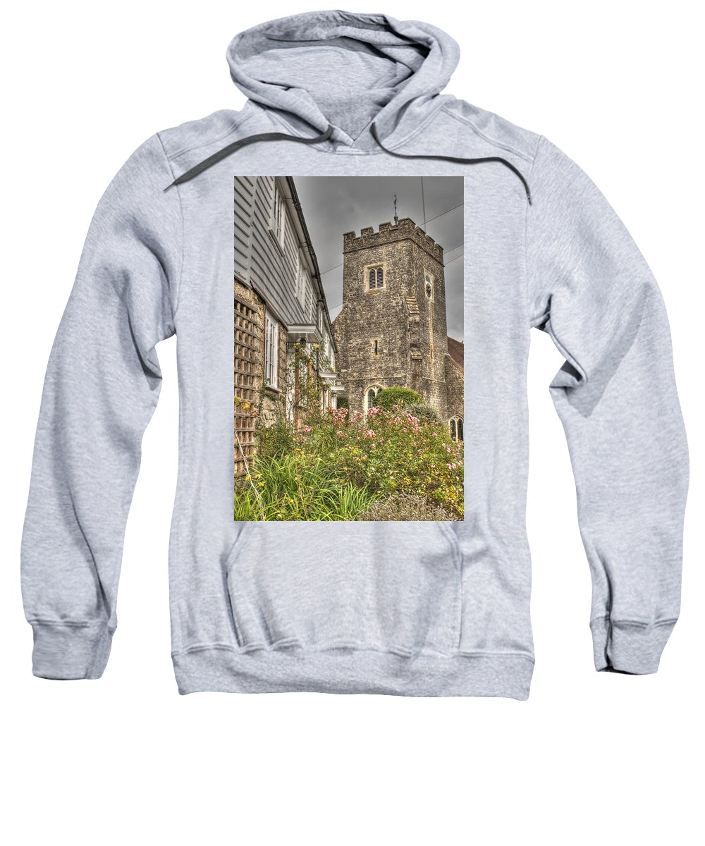 Plaxtol Church Sweatshirt featuring the photograph  Plaxtol Church And Church Row by Dave Godden