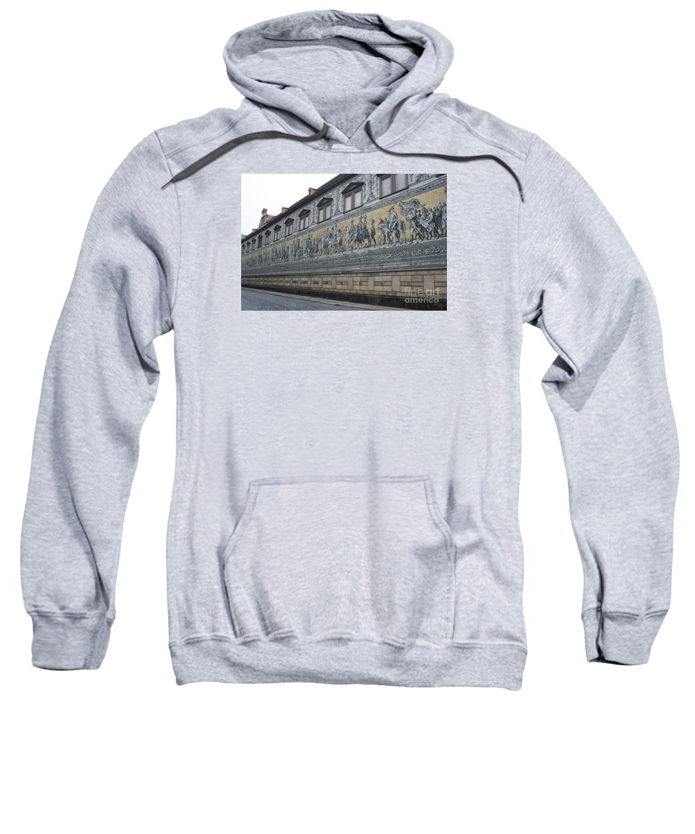 Fuerstenzug Sweatshirt featuring the photograph Saxon Sovereigns Depicted In Meissen Porcelain by Christiane Schulze Art And Photography