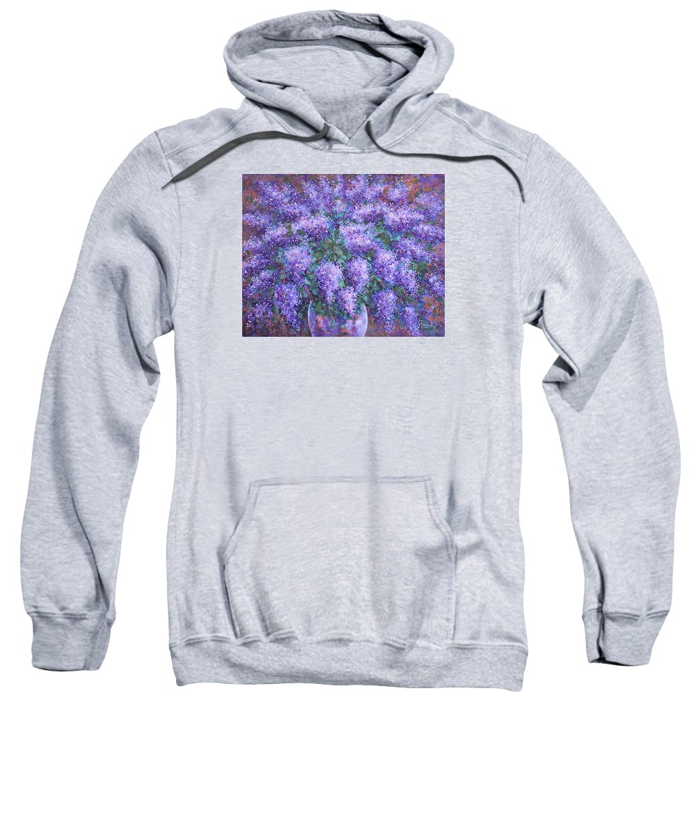 Flowers Sweatshirt featuring the painting Scented Lilacs Bouquet by Natalie Holland