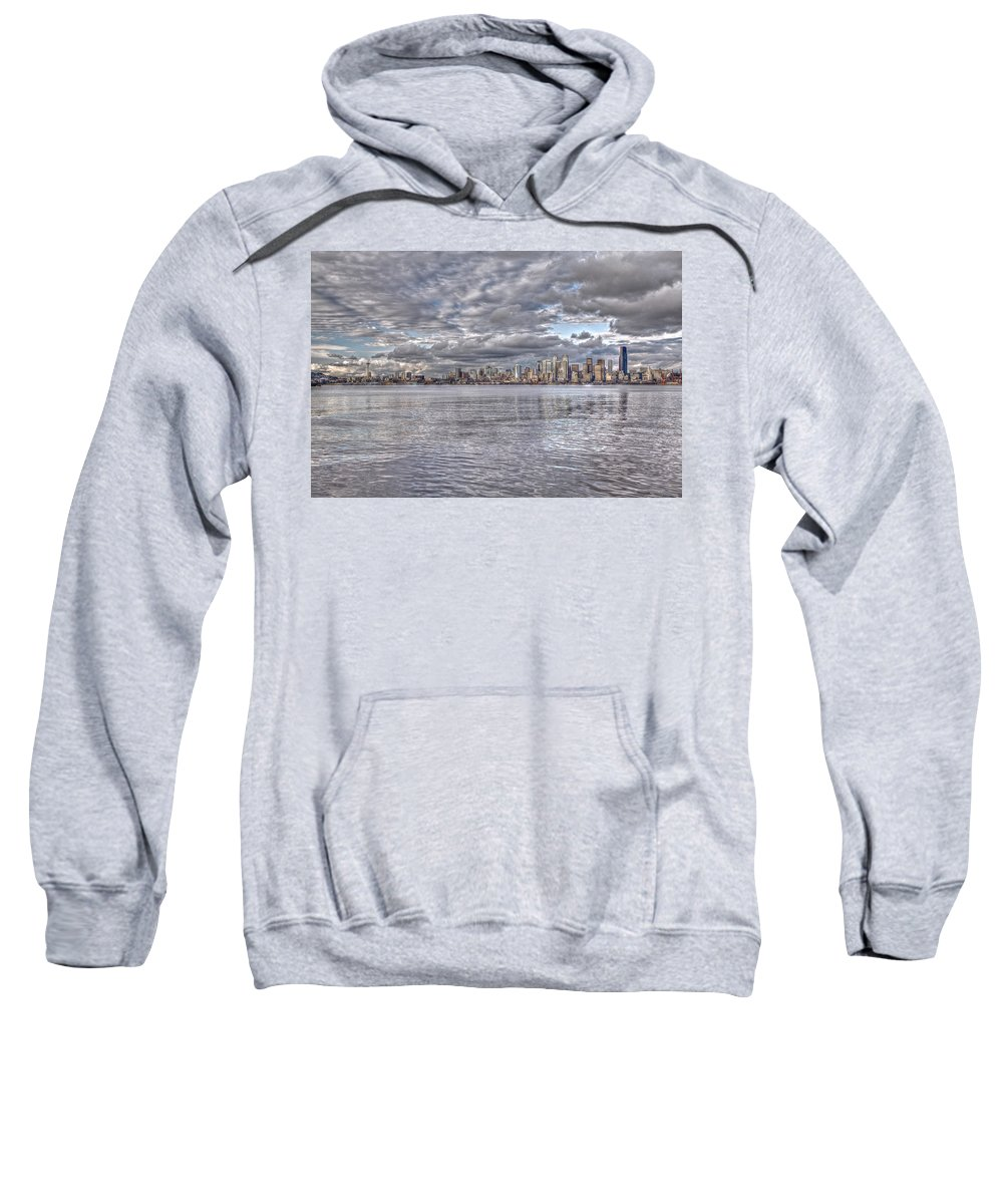 Beach Sweatshirt featuring the photograph Seattle Skyline Cityscape Tonemapped by SC Heffner