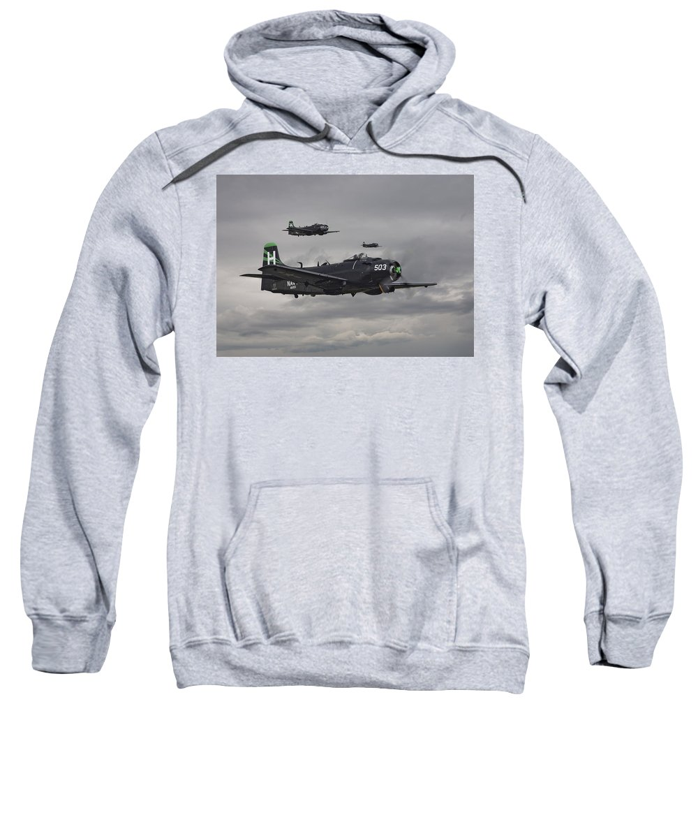 Aircraft Sweatshirt featuring the photograph Skyraiders - Va155 by Pat Speirs
