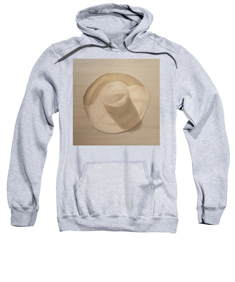 Still Life; Straw Hat; Sun Hat; Clothing; Monochrome Sweatshirt featuring the painting Travelling Hat On Dusty Table by Lincoln Seligman