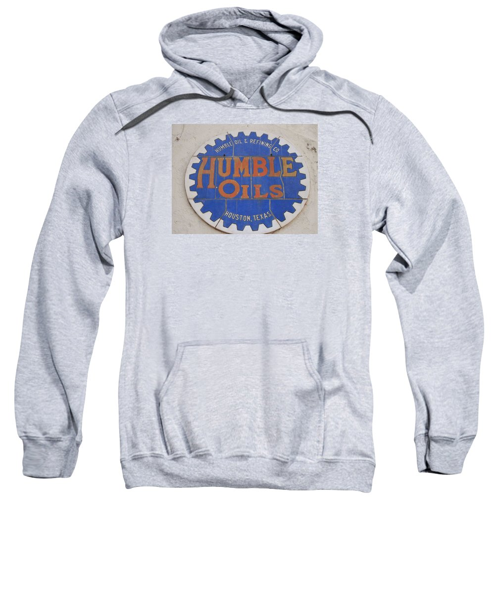Oil Companies Sweatshirt featuring the photograph Vintage Humble Oils Sign Jefferson Texas by Donna Wilson