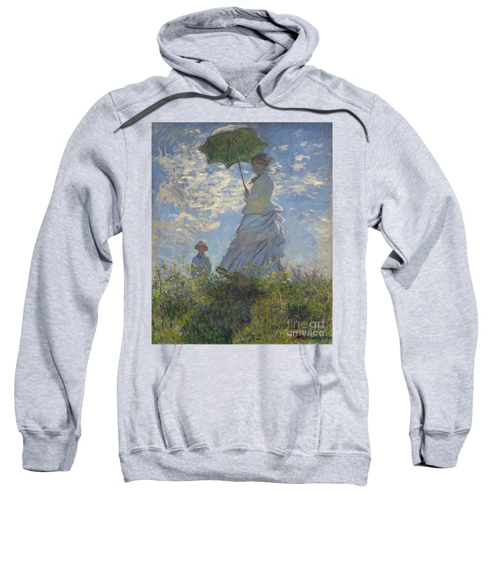 Female; Male; Boy; Child; Hill; Walking; Walk; Stroll; Summer; Outdoors; Mother; Hat; Impressionist; Artists Sweatshirt featuring the painting Woman With A Parasol Madame Monet And Her Son by Claude Monet