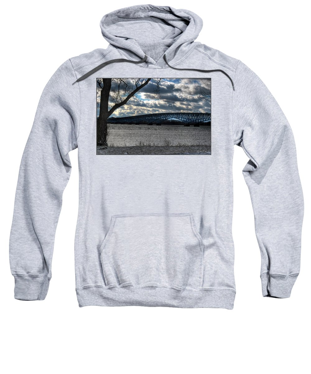 Sweatshirt featuring the photograph 0013 Grand Island Bridge Series by Michael Frank Jr