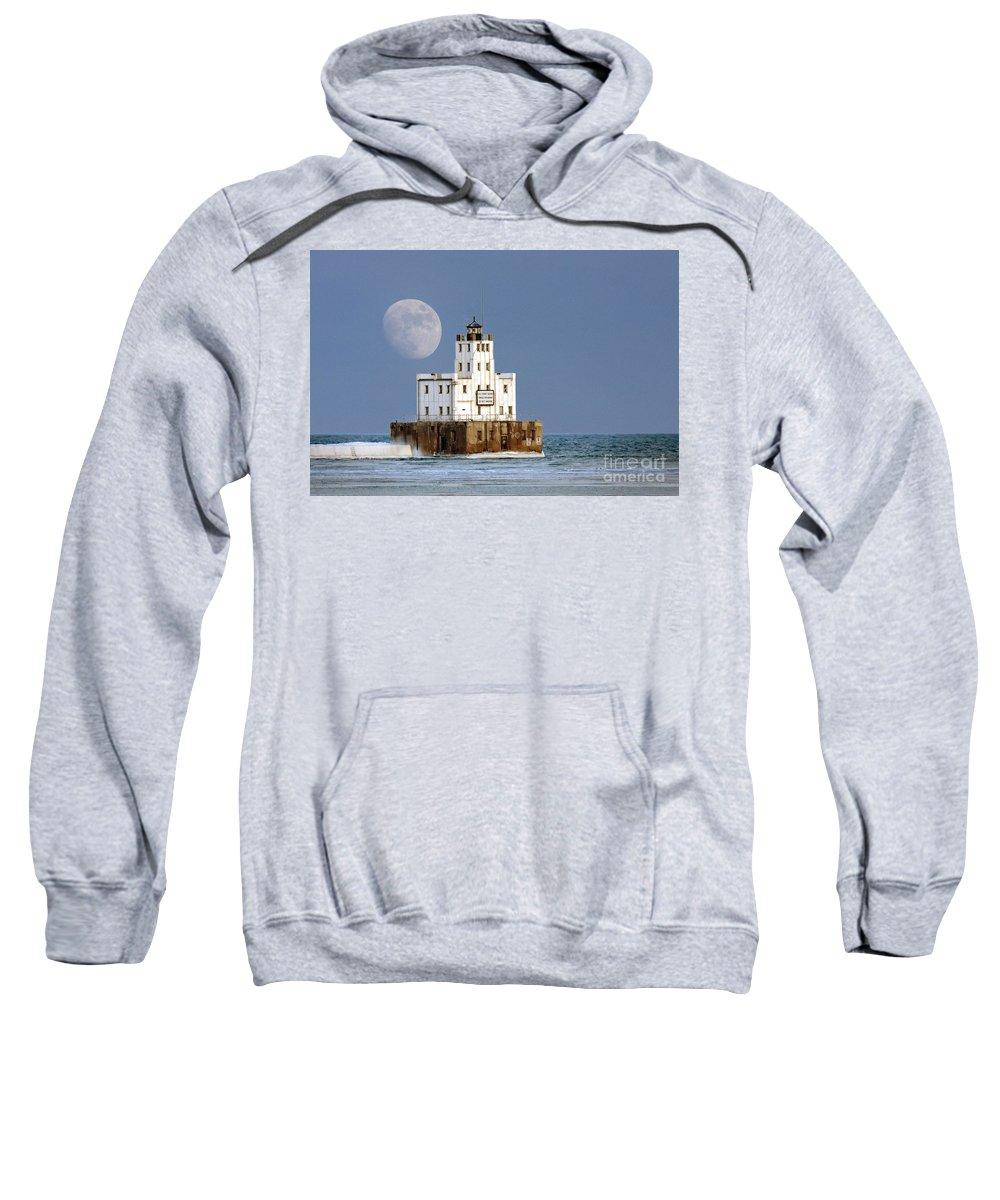 Milwaukee Sweatshirt featuring the photograph 0186 Moon Over Milwaukee Breakwater Lighthouse by Steve Sturgill