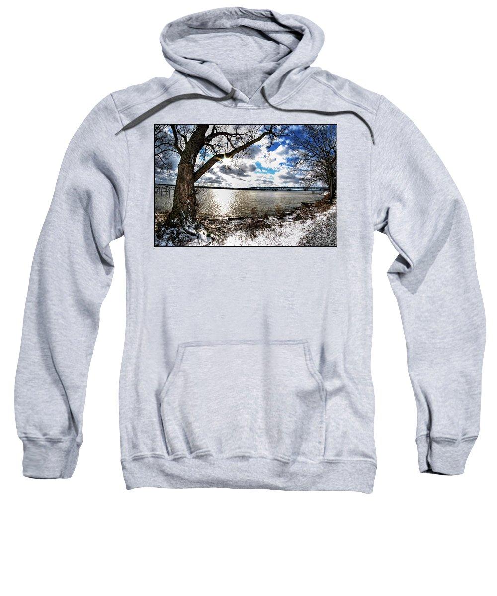 Sweatshirt featuring the photograph 005 Grand Island Bridge Series by Michael Frank Jr