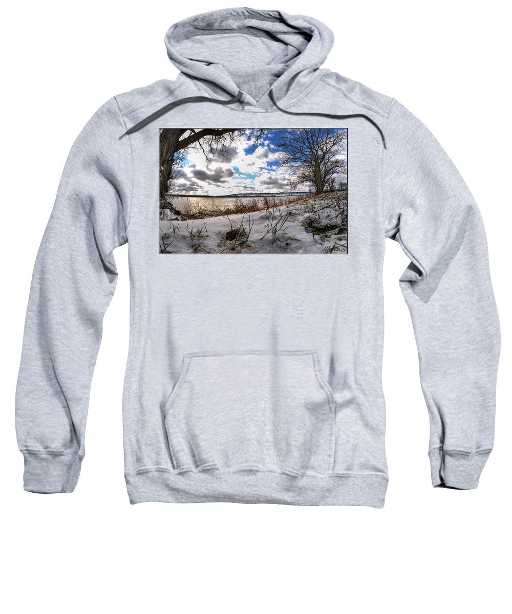 Sweatshirt featuring the photograph 007 Grand Island Bridge Series by Michael Frank Jr