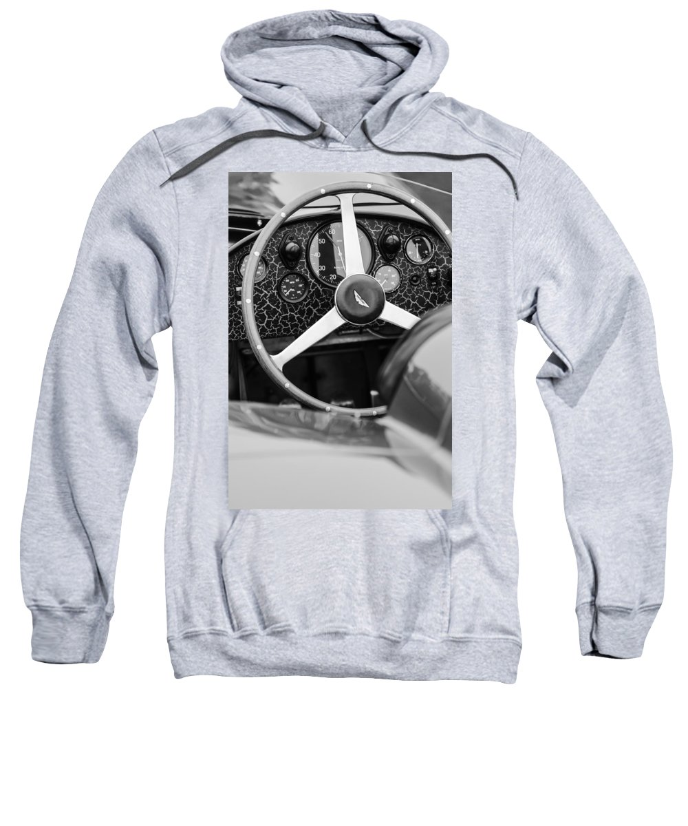 1957 Aston Martin Dbr2 Steering Wheel Sweatshirt featuring the photograph 1957 Aston Martin Dbr2 Steering Wheel by Jill Reger