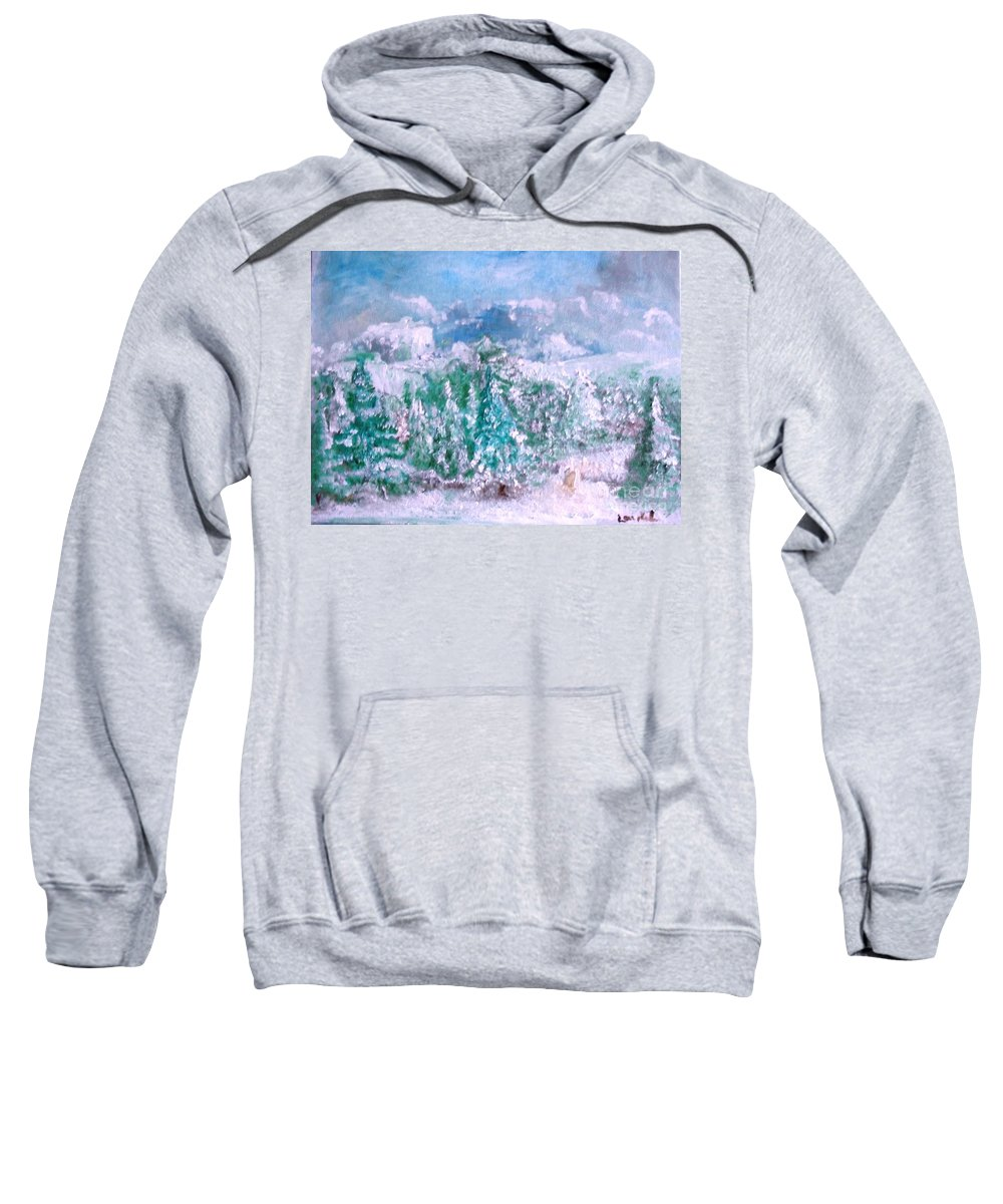 Winter Sweatshirt featuring the painting A Natural Christmas by Laurie Lundquist