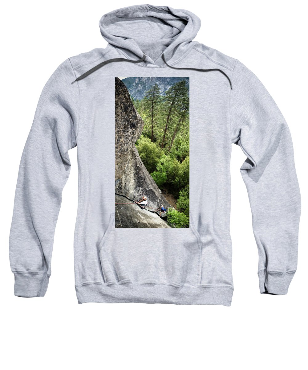 10-11 Years Sweatshirt featuring the photograph A Young Boy Climbs In Yosemite, June by Kevin Steele
