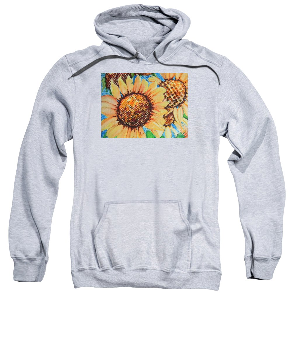 Fine Art Painting Sweatshirt featuring the painting Abstract Sunflowers by Chrisann Ellis