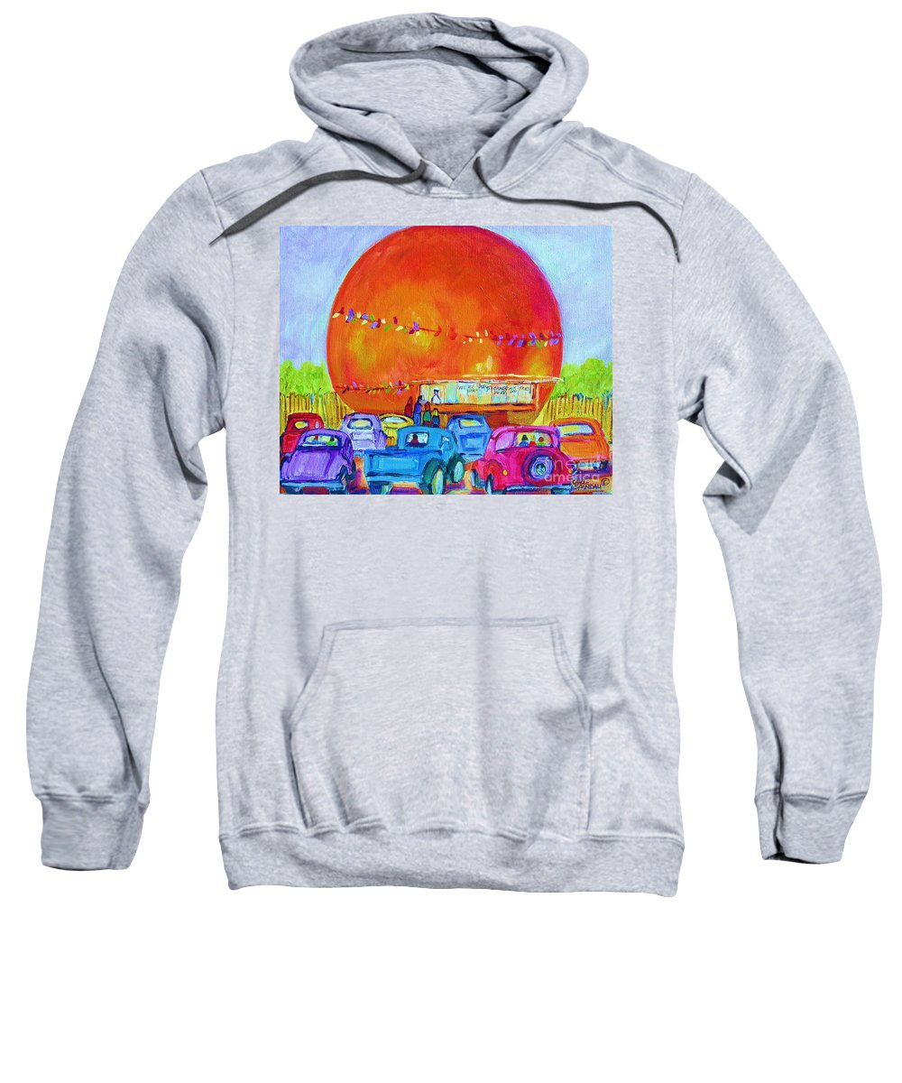 Cars Sweatshirt featuring the painting Antique Cars At The Julep by Carole Spandau