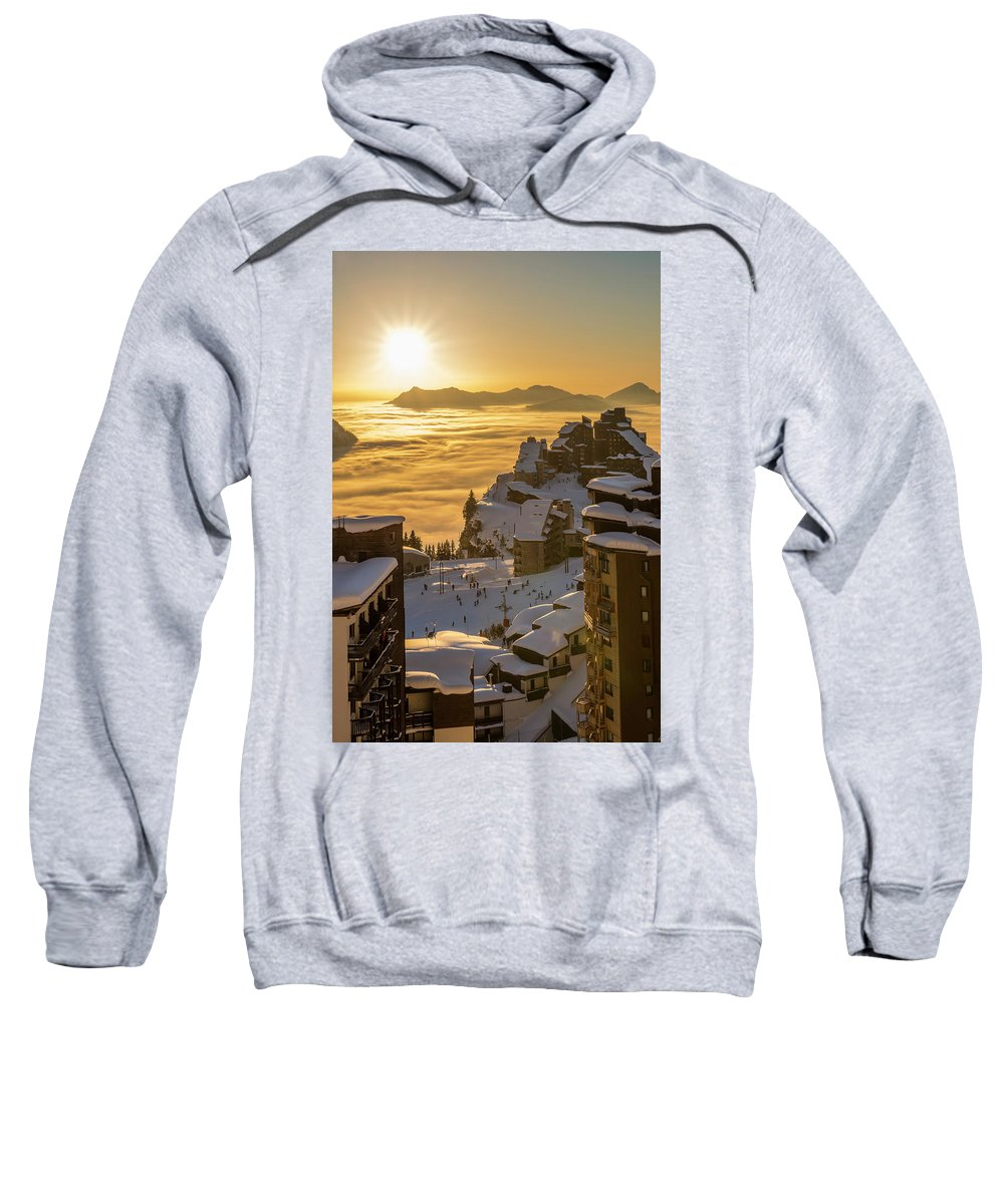Architecture Sweatshirt featuring the photograph Avoriaz At Sunset by Dylan H Brown