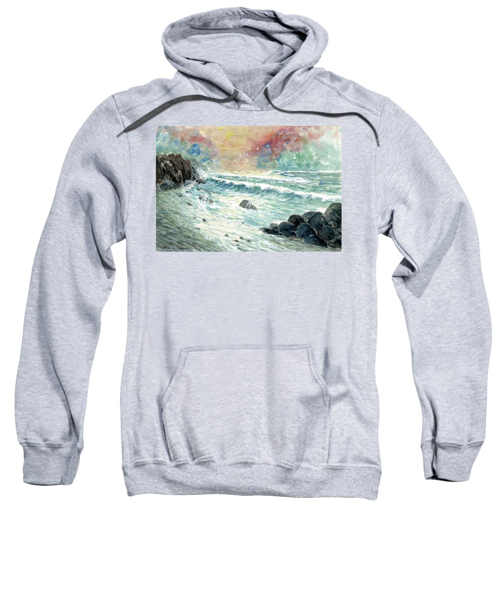 Beach Sweatshirt featuring the painting Beach Tide by Steven Schultz