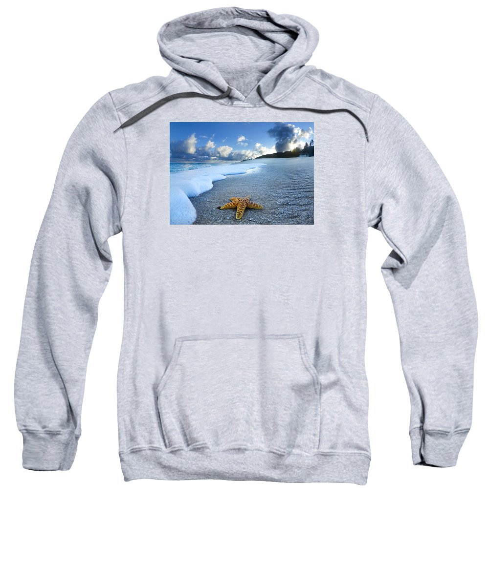 Surreal Sweatshirt featuring the photograph Blue Foam Starfish by Sean Davey