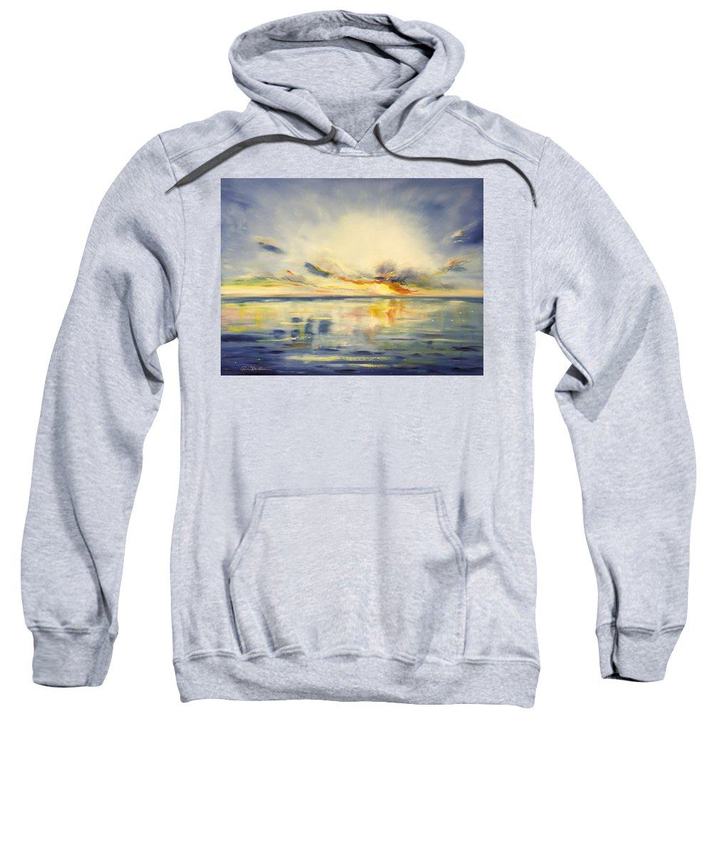 Blue Sweatshirt featuring the painting Blue Sunset by Gina De Gorna