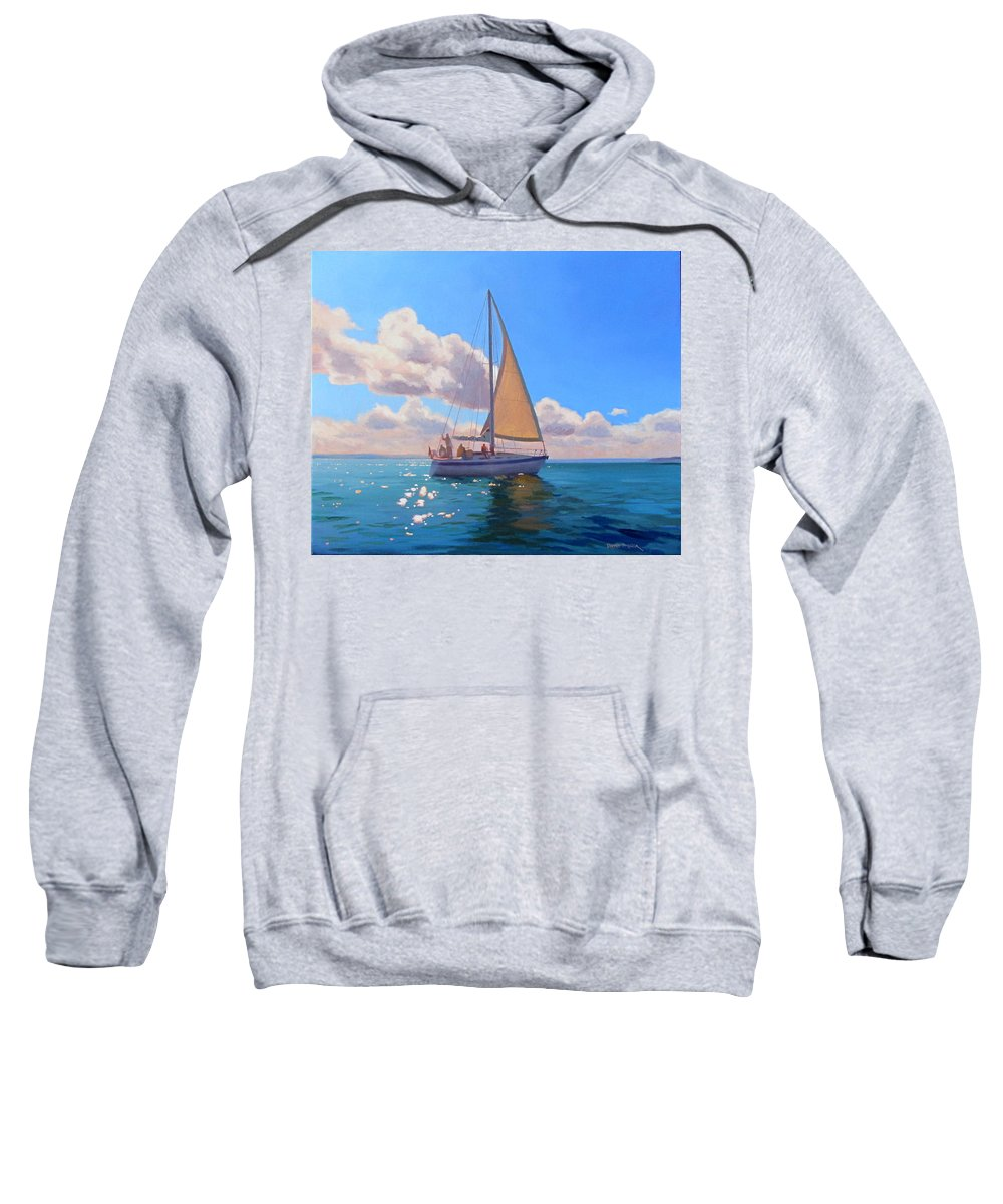 Hingham Harbor Sweatshirt featuring the painting Catching The Wind by Dianne Panarelli Miller