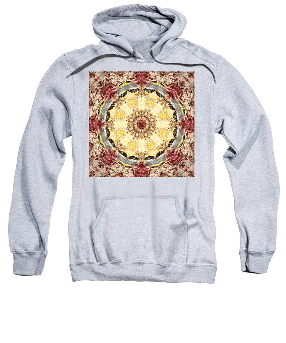 Mandala Sweatshirt featuring the digital art Cecropia Sun 4 by Lisa Lipsett