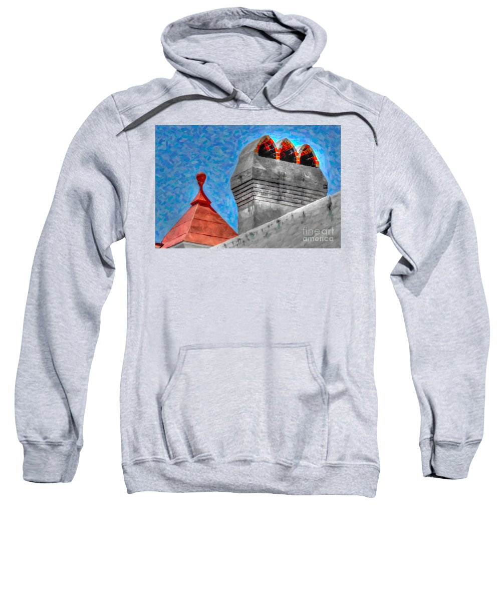 Rooftop Sweatshirt featuring the digital art Charleston Rooftop by Dale Powell