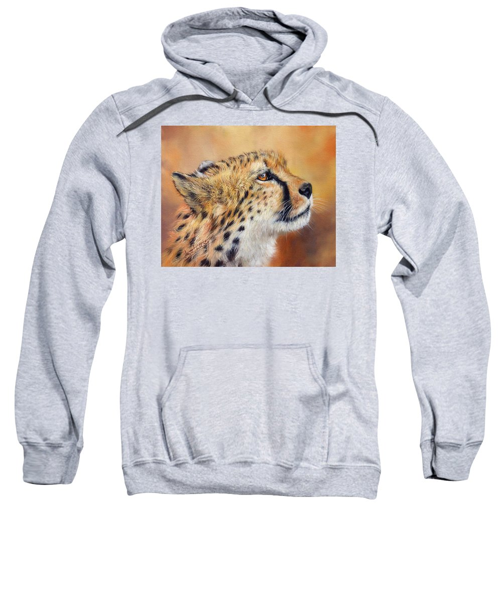 Animals Sweatshirt featuring the painting Cheetah by David Stribbling