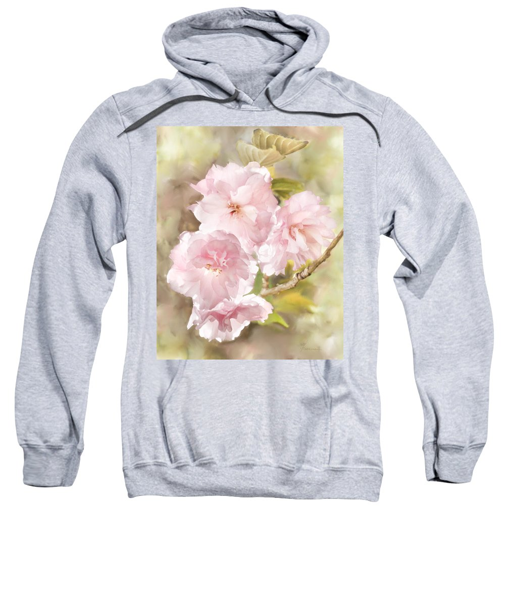Cherry Sweatshirt featuring the digital art Cherry Blossoms by Francesa Miller