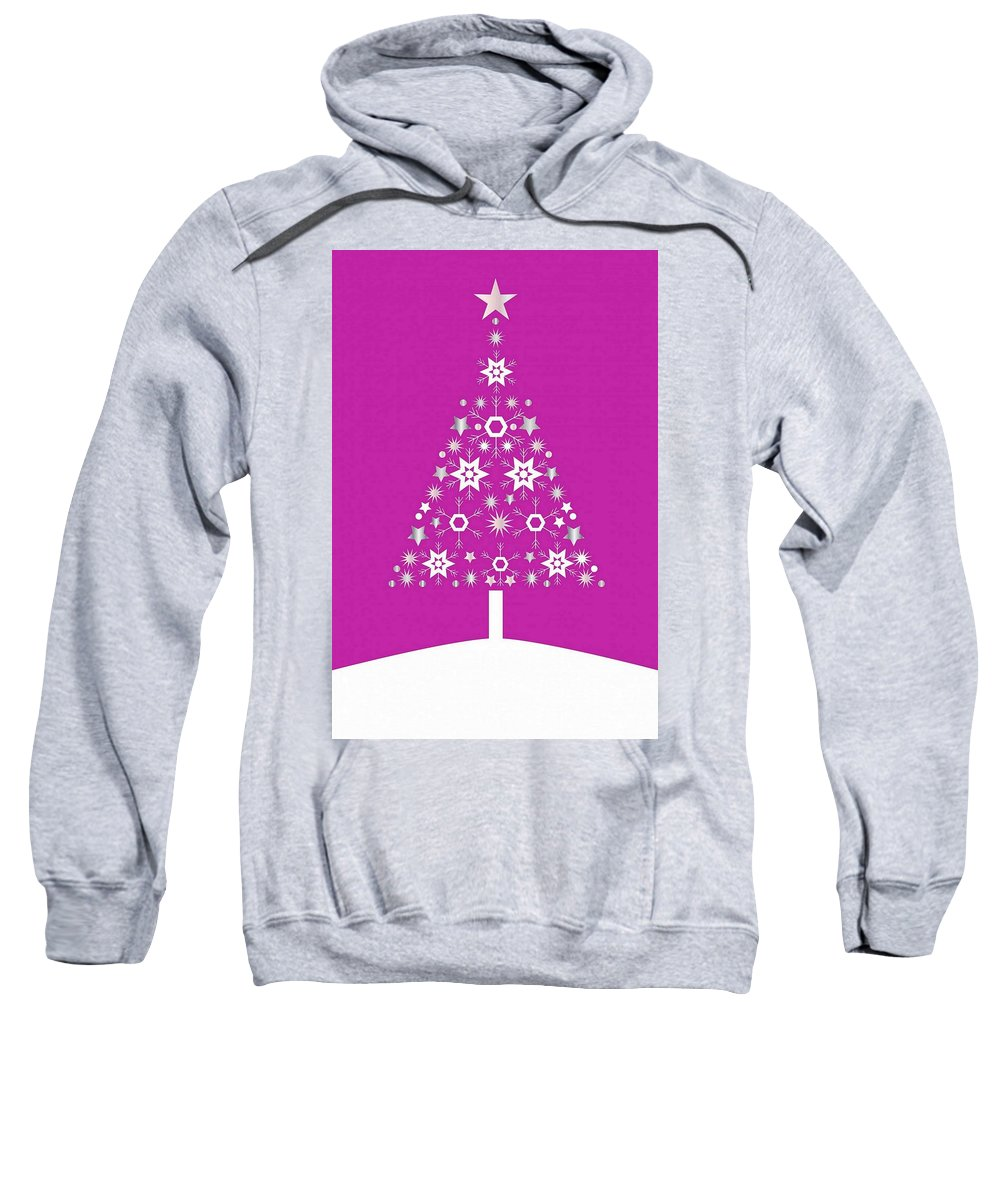 Tree Sweatshirt featuring the digital art Christmas Tree Made Of Snowflakes On Pink Background by Taiche Acrylic Art