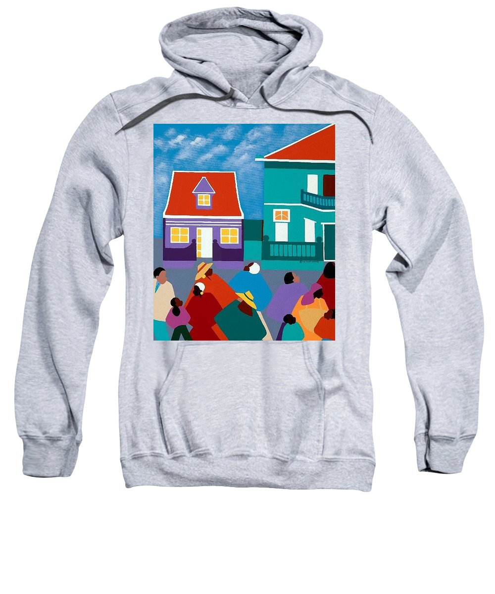 Dutch West Indies Sweatshirt featuring the painting Curacao Dreams II by Synthia SAINT JAMES