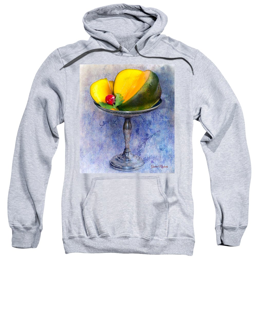 Appetizing Sweatshirt featuring the photograph Cut Mango On Sterling Silver Dish by Gunter Nezhoda