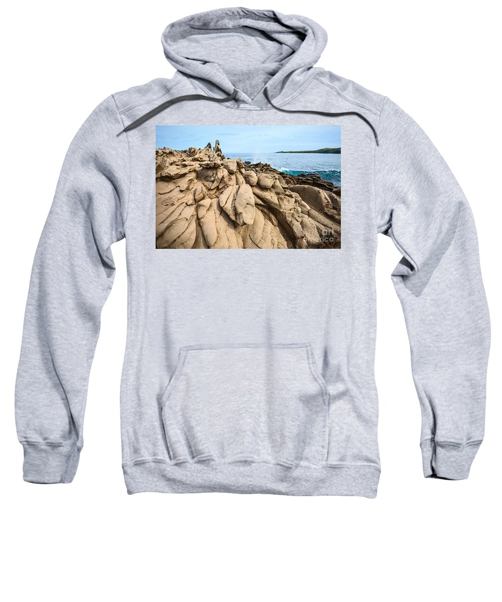 Dragons Teeth Sweatshirt featuring the photograph Dramatic Lava Rock Formation Called The Dragon's Teeth In Maui. by Jamie Pham