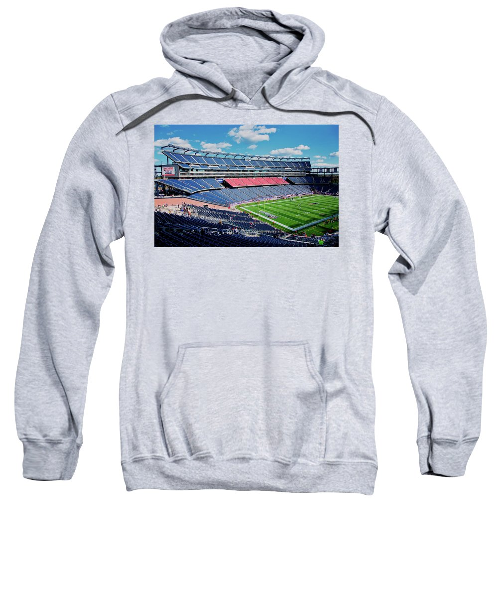 Photography Sweatshirt featuring the photograph Elevated View Of Gillette Stadium, Home by Panoramic Images