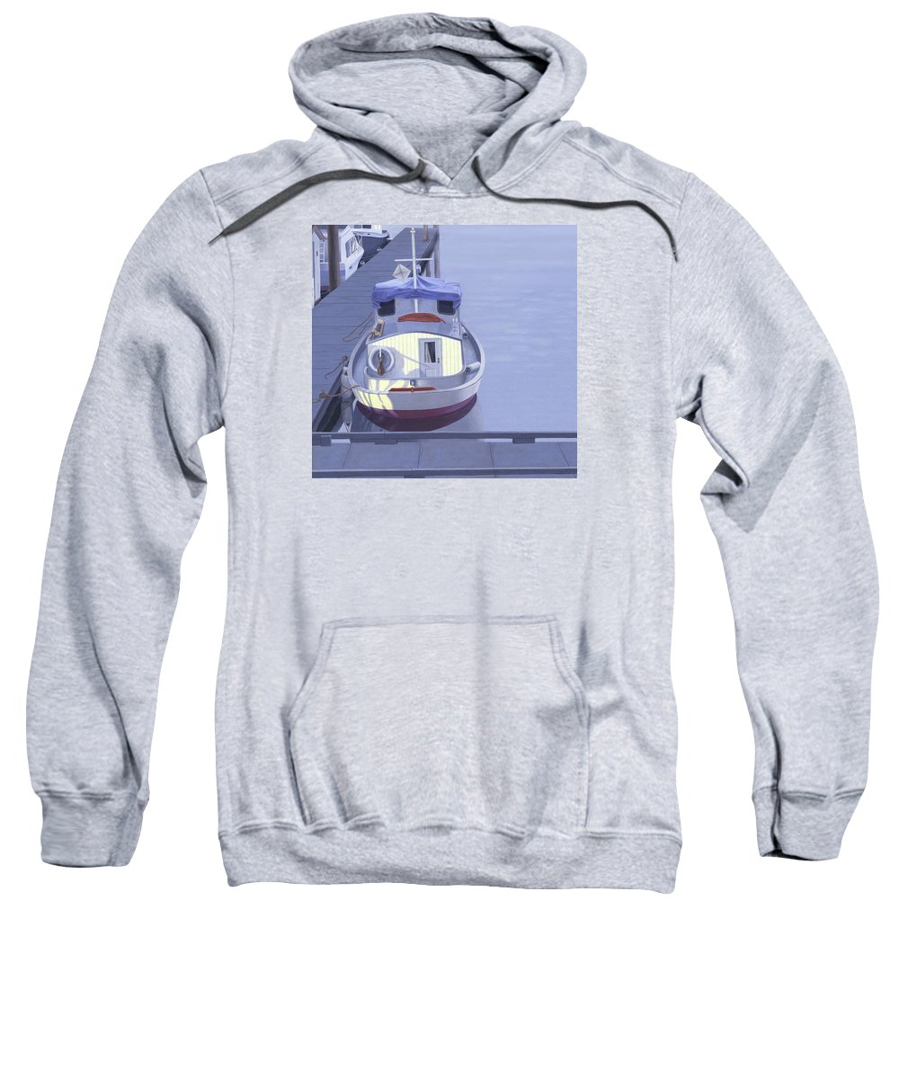 Boat Sweatshirt featuring the painting Evening at Port Hardy by Gary Giacomelli