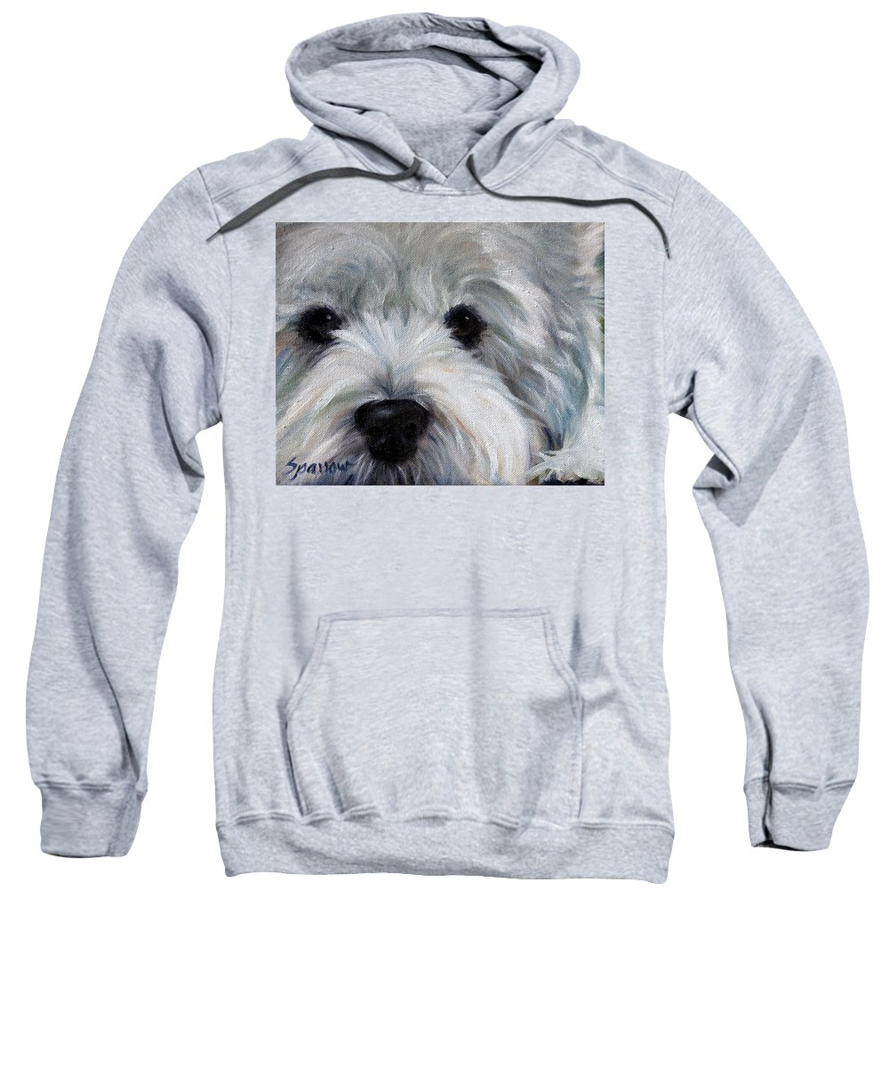 Westie Sweatshirt featuring the painting Eyes For You by Mary Sparrow