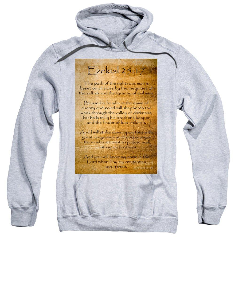 Ezekial 25:17 Sweatshirt featuring the painting Ezekial 25 17 by Roz Abellera