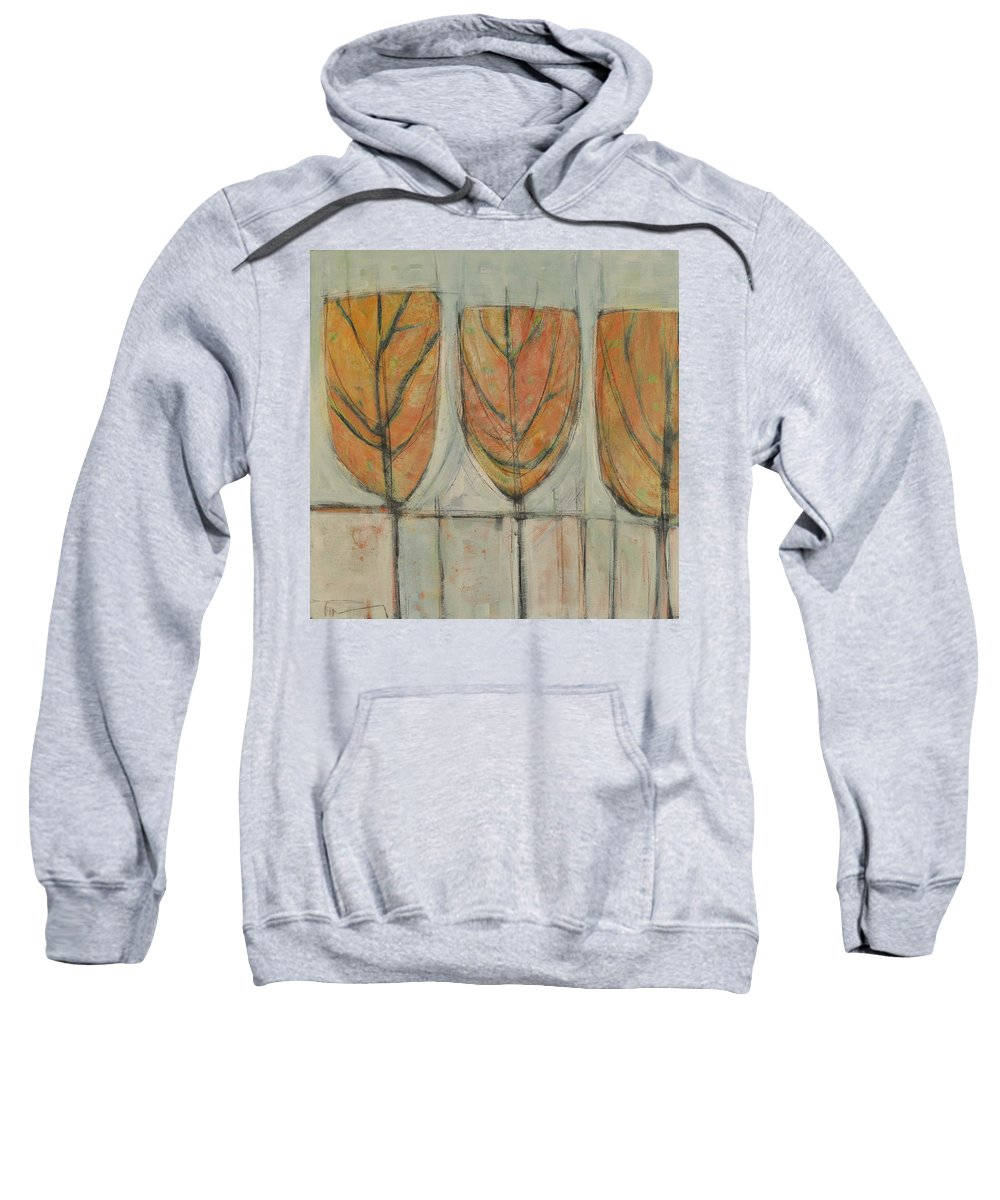 Trees Sweatshirt featuring the painting First Snow by Tim Nyberg