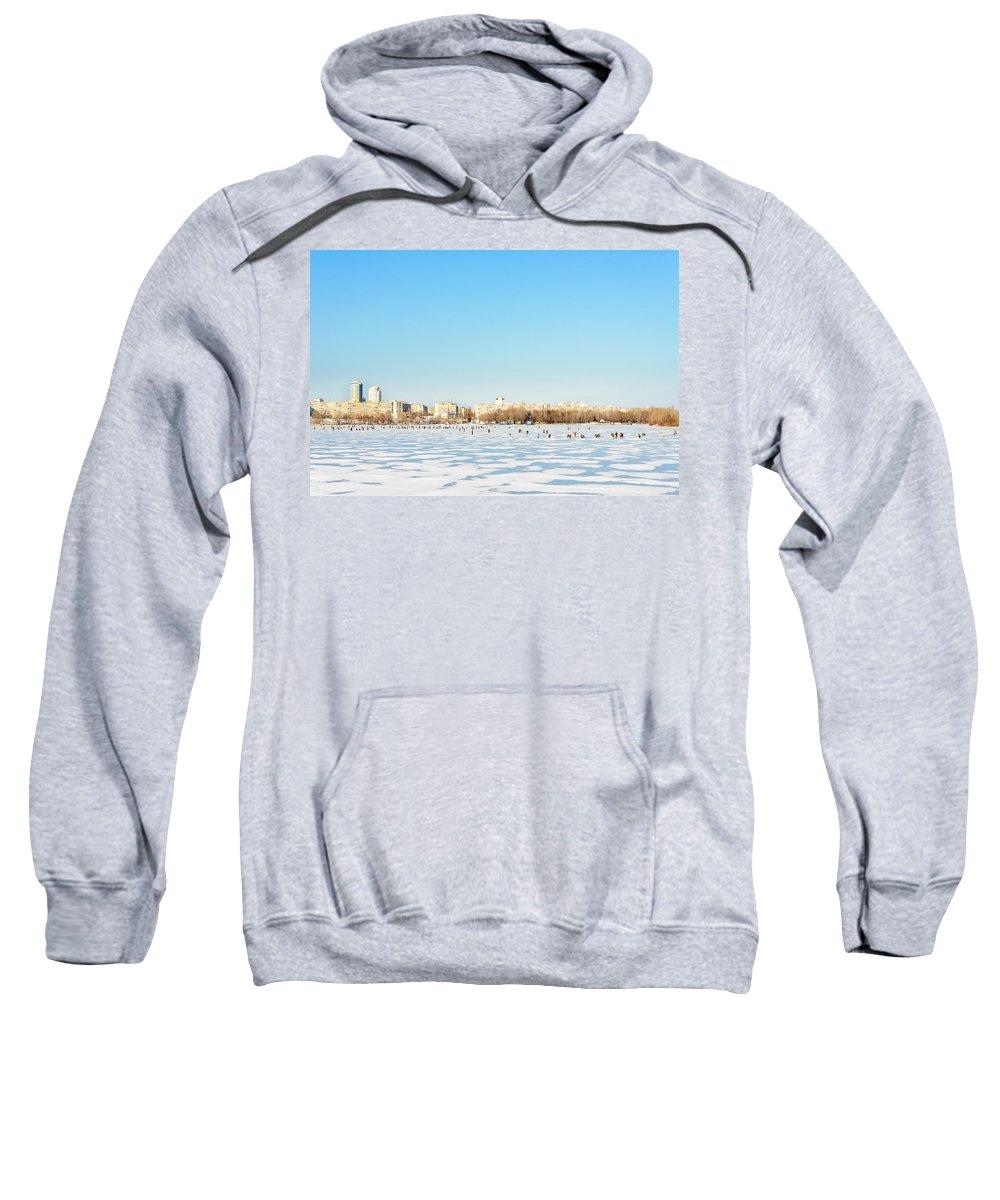 Dnieper Sweatshirt featuring the photograph Fishermen On The Frozen River by Alain De Maximy