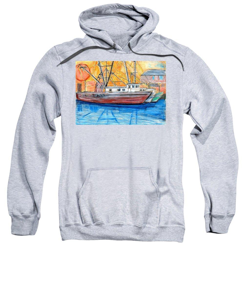 Fishing Sweatshirt featuring the drawing Fishing Trawler by Eric Schiabor