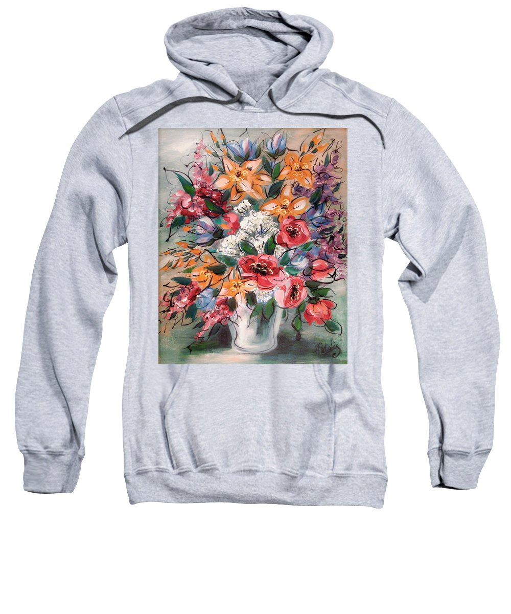 Flowers Sweatshirt featuring the painting Garden Flowers by Natalie Holland