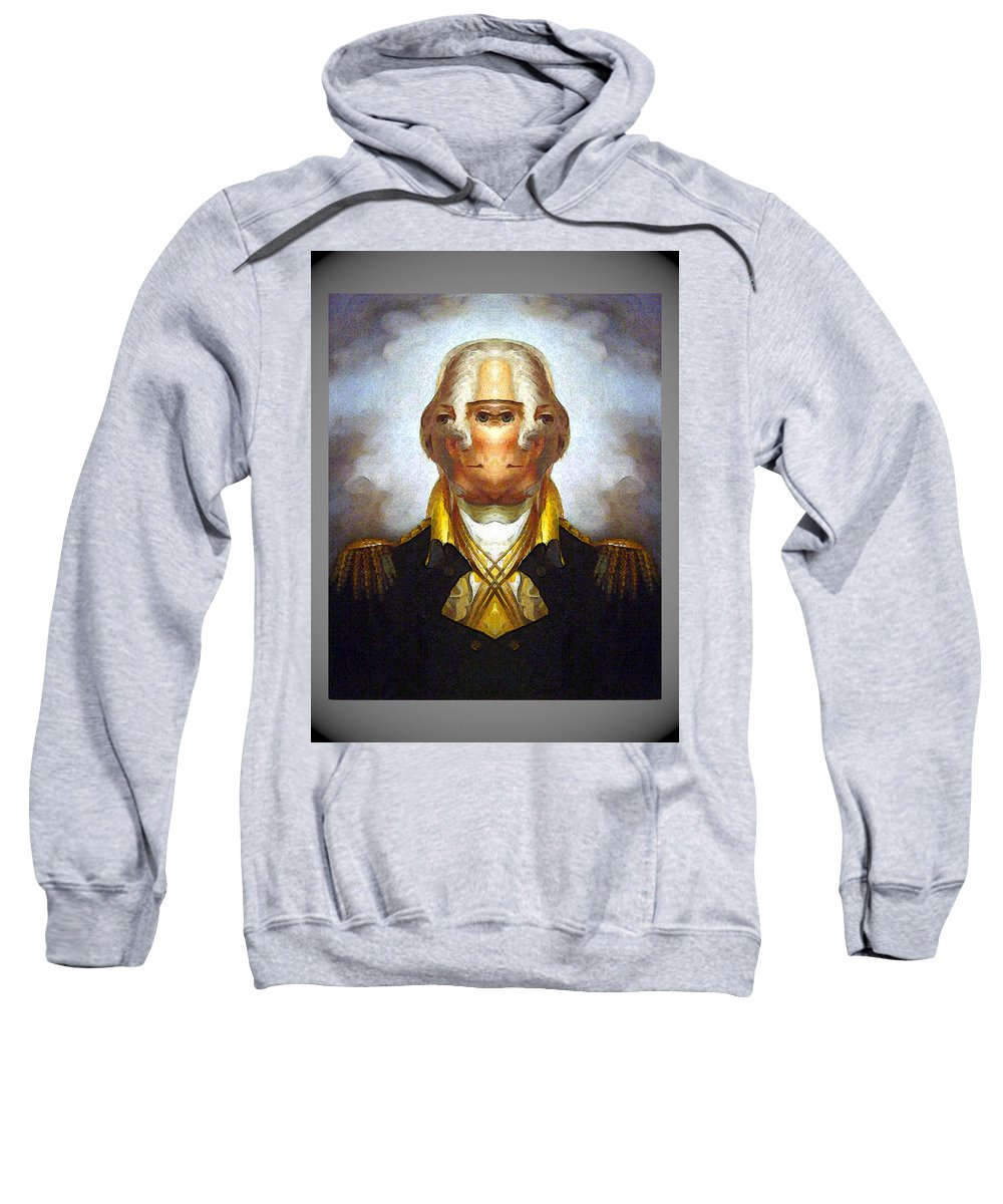 Sweatshirt featuring the digital art George Washington by Zac AlleyWalker Lowing