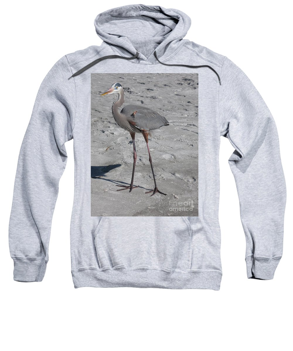 Heron Sweatshirt featuring the photograph Great Blue Heron On The Beach by Christiane Schulze Art And Photography